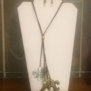 Brown long angel wing necklace and earring set